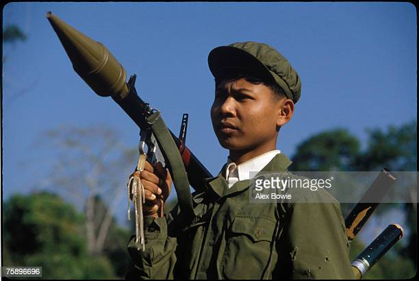 A young Khmer Rouge guerrilla with a Chinesemade RPG launcher in the Cardamom Mountains of western Cambodia 26th February 1981