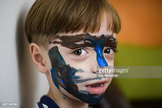 Young kid face paint, close-up