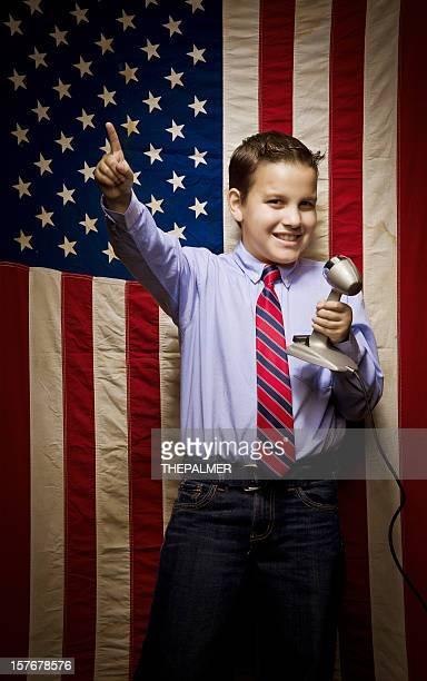 Junge Kind eine Präsidenten school Rede