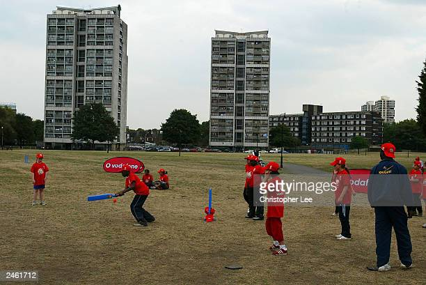 Young kids in action during their Vodafone Kwik Cricket lessons on September 3 2003 in Kennington London