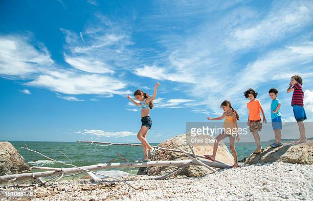 Young kids playing on the beach