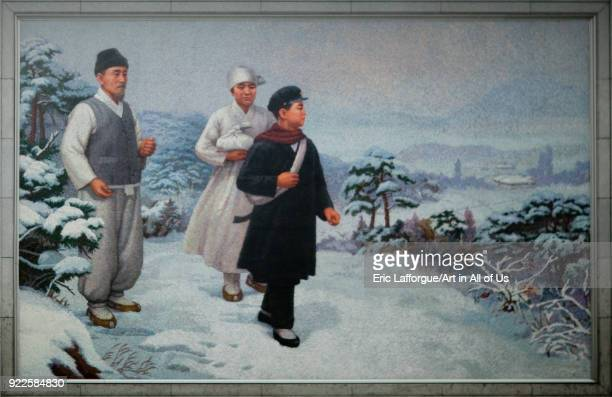 Young Kim il Sung in the snow on a propaganda mosaic fresco, Pyongan Province, Pyongyang, North Korea on April 26, 2010 in Pyongyang, North Korea.