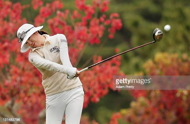 Young Kim of South Korea tees off during the second round of the Mizuno Classic at Kintetsu Kashikojima Country Club on November 5 2011 in Shima Japan