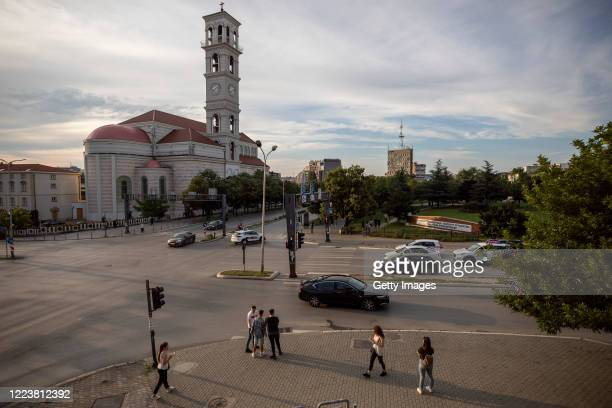 June 28, 2020: Young Kosovars at the intersection of Bill Clinton Boulevard and George Bush street on June 28, 2020 in Pristina, Kosovo. President...