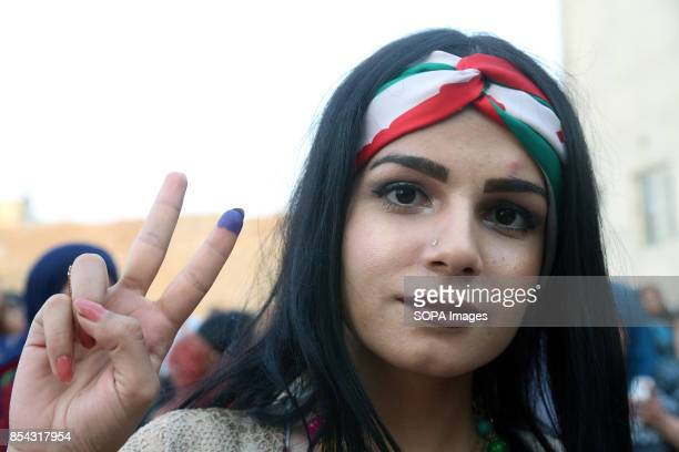 A young Kurdish girl at polling station is pictured after she casted her vote September 25 2017 is a historic day for Kurdish people around the world...