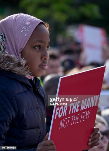 Young Labour Party supporter at a rally with leader Jeremy Corbyn 2 days before the general elections of June 8th Birmingham UK 6th June 2017
