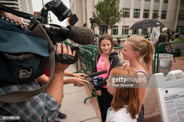Young ladies are interviewed following the verdict of the civil case of Taylor Swift vs David Mueller at the Alfred A Arraj Courthouse on August 14...