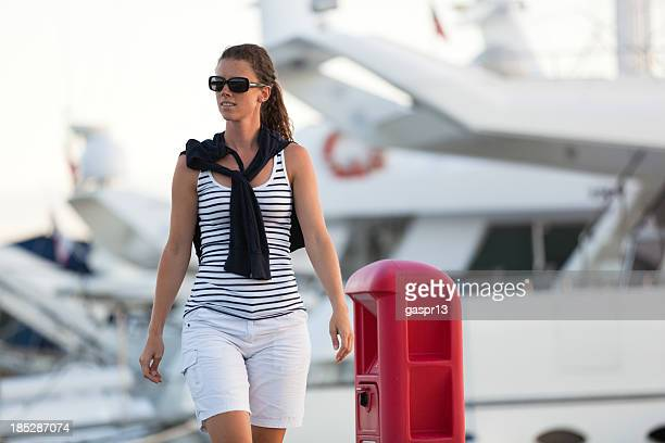 young lady in marina