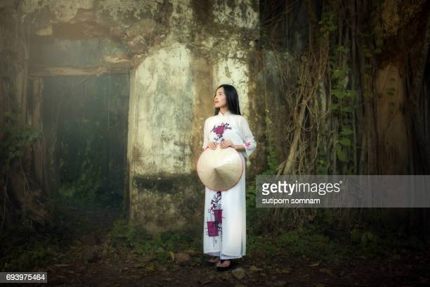 Young Lady in Vietnam Ao Dai traditional dress