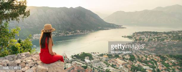 young lady relax on holiday - montenegro imagens e fotografias de stock