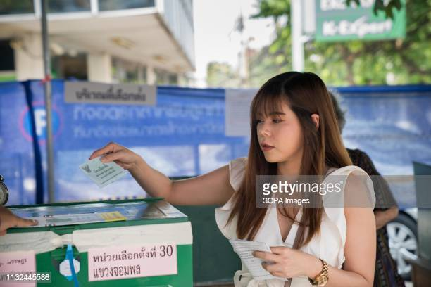 A young lady seen casting her ballot in a polling station Thailand is hosting its first General Election in 8 years Polling stations opens from 8am...