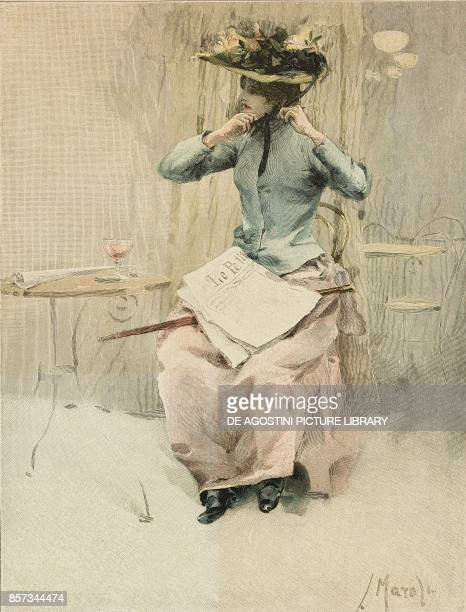 A young lady sitting in a Parisian cafe France painting by Ludek Marold woodcut from Moderne Kunst illustrated magazine published by Richard Bong...