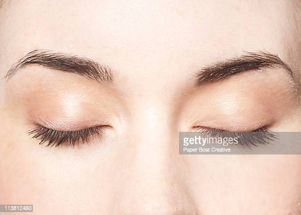 young lady with her eyes closed, close up - eyes closed stock pictures, royalty-free photos & images