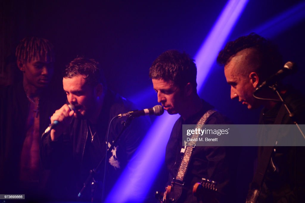 Young Lazarus, Jamie Reynolds, Noel Gallagher and Jeff Wootton of YOTA perform in concert at XOYO on June 13, 2018 in London, England.