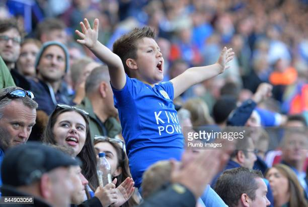 A young Leicester City fan during the Premier League match between Leicester City and Chelsea at King Power Stadium on September 09 2017 in Leicester...