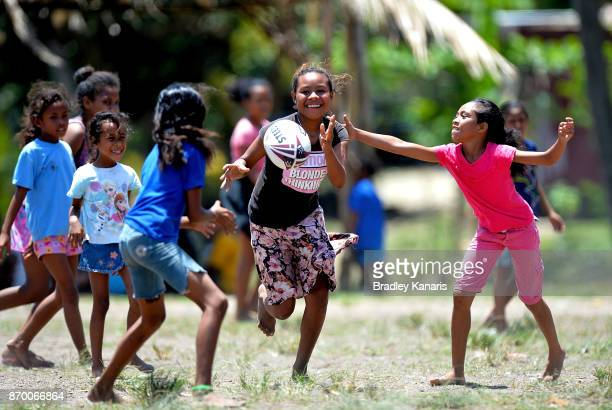 Young local Papua New Guinean girls play Rugby League in Tubusereia Village on November 4 2017 in Tubusereia Central Province Papua New Guinea