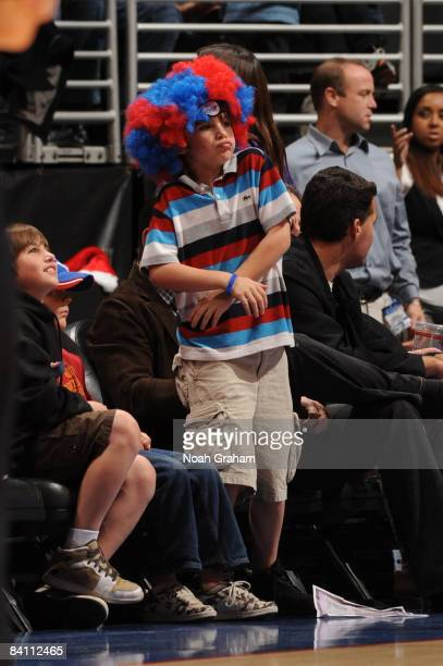A young Los Angeles Clippers fan dances during a game between the Toronto Raptors and the Los Angeles Clippers at Staples Center on December 22 2008...