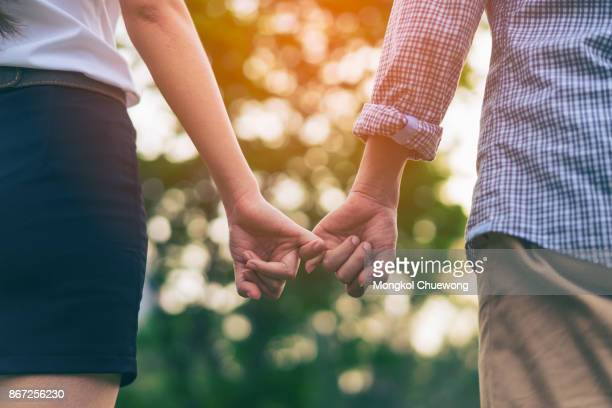 Young love couple walking in the autumn park holding hands looking at sunset scence. Young love couple pinky promise or pinky swear.