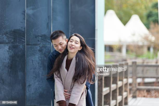 a young lover hugged,shanghai,china - east asia, - china east asia stock-fotos und bilder