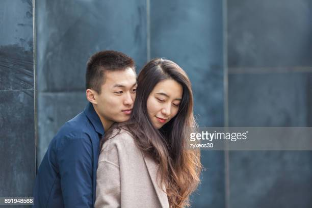 a young lover hugged,shanghai,china - east asia, - china east asia stock photos and pictures