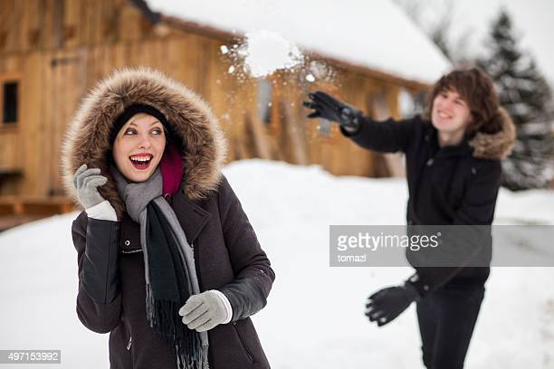 Young lovers snowballing