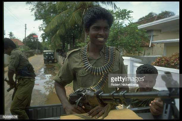 Young LTTE Liberation Tigers of Tamil Eelam fighters atop truck