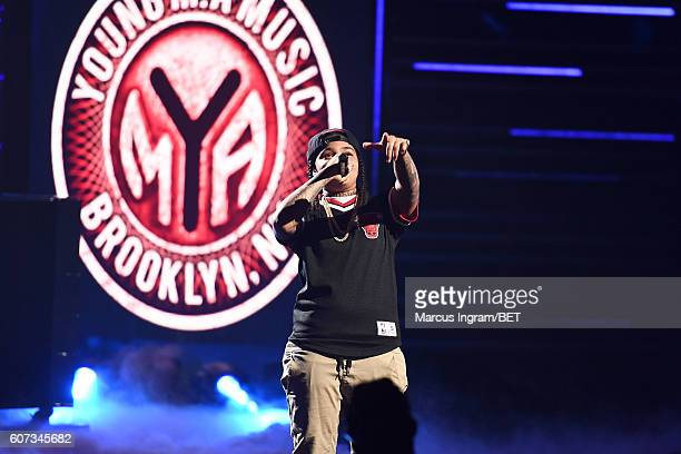 Young MA and Kitisha Phillips perform onstage during the 2016 BET Hip Hop Awards at Cobb Energy Performing Arts Center on September 17 2016 in...