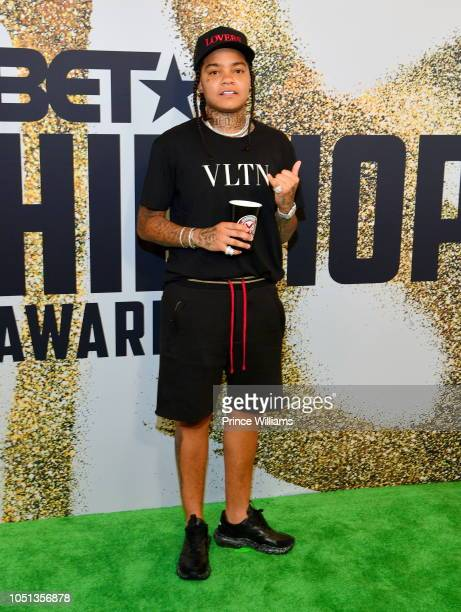 Young MA arrives at the BET Hip Hop Awards 2018 at Fillmore Miami Beach on October 6 2018 in Miami Beach Florida