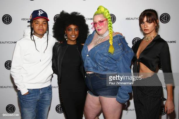 Young MA Ashley Rudder Margie Plus and Kristen Hancher attend Beautycon Festival NYC 2018 Day 2 at Jacob Javits Center on April 22 2018 in New York...
