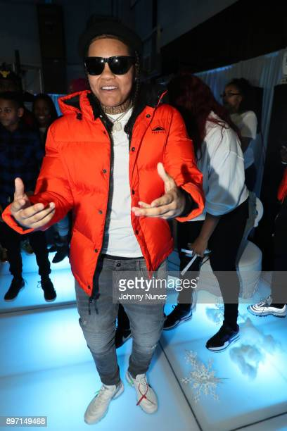 Young MA attends The 2017 'Winter Wonderland' Holiday Charity Event hosted by La La Anthony at Gauchos Gym on December 21 2017 in New York City