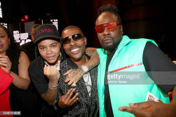 Young Ma Lil Duval and Wale pose during the BET Hip Hop Awards 2018 at Fillmore Miami Beach on October 6 2018 in Miami Beach Florida