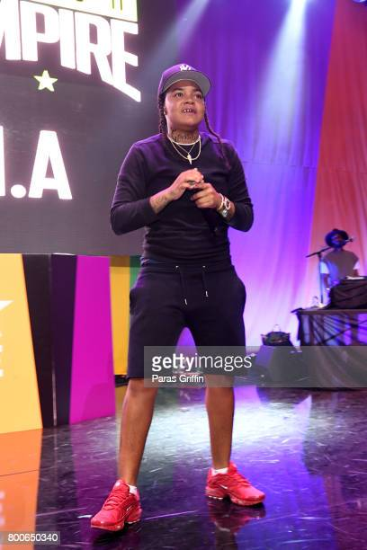 Young MA performs onstage at the Main Stage Performances during the 2017 BET Experience at Los Angeles Convention Center on June 24 2017 in Los...