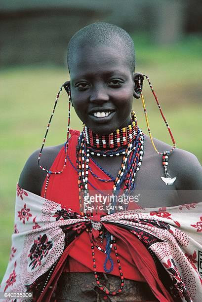 A young Maasai woman wearing traditional ornaments Kenya