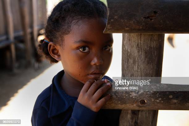 ANJANOJANO MADAGASCAR DECEMBER 24 2010 Young Malagasy girl in a small fishermen village at Anjanojano North of Madagascar on December 24 2010 in...