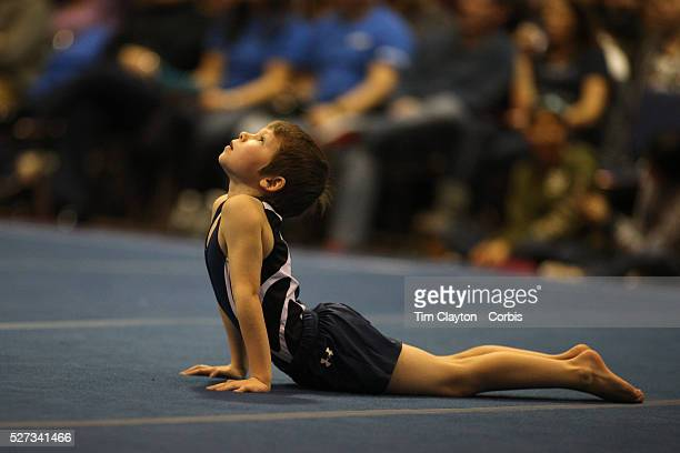 A young male gymnasts performs his floor routine during the 21st American Invitational 2014 competition at the XL Centre Hartford Connecticut USA USA...