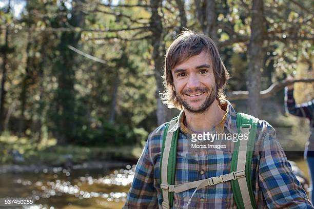 Young male hiker in forest