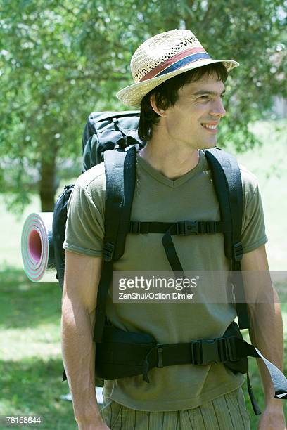 Young male hiker, smiling