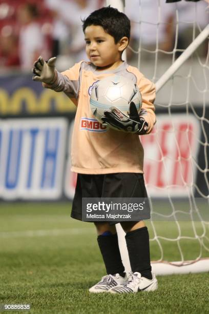A young male soccer player plays on the field during the half of Real Salt Lake vs the Chicago Fire at Rio Tinto Stadium on September 12 2009 in...
