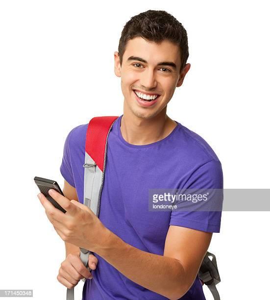 jovem estudante usando telefone celular-isolado - só um homem jovem - fotografias e filmes do acervo