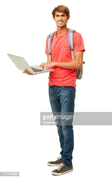 Young Male Student Using Laptop - Isolated