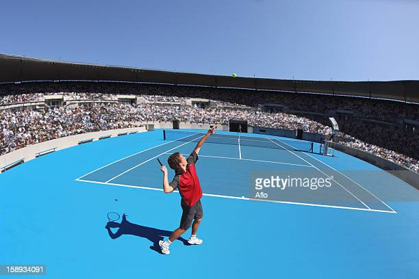 young male tennis player - wide angle stock pictures, royalty-free photos & images