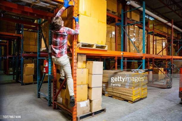 a young male warehouse worker breaking safety regulations by  climbing-up racking - danger stock pictures, royalty-free photos & images