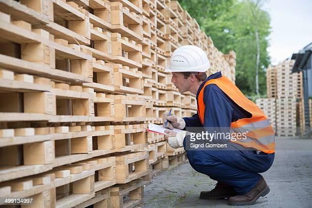 young male worker pallet stock taking in timber yard - sigrid gombert stock-fotos und bilder