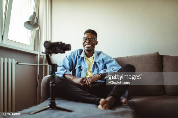 young male youtuber. - webcam stock pictures, royalty-free photos & images