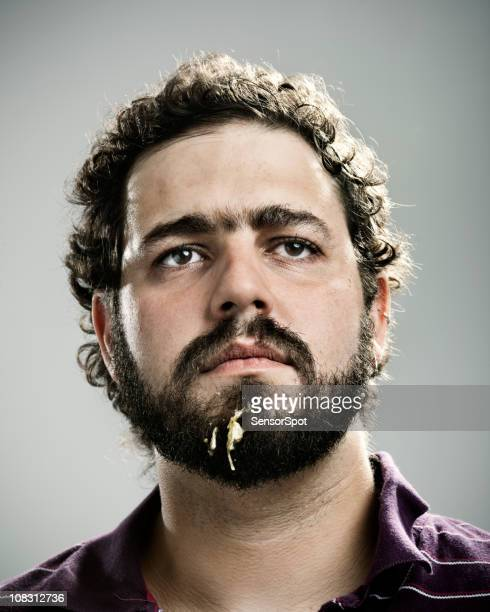 young man after lunch - fat man beard stock photos and pictures