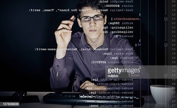 young man analyzing his css definitions