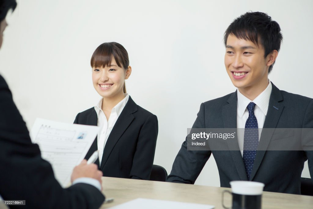 young man and woman in job interview ストックフォト getty images