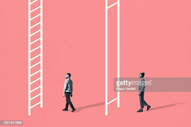young man and woman walking towards white ladders - equality stock pictures, royalty-free photos & images