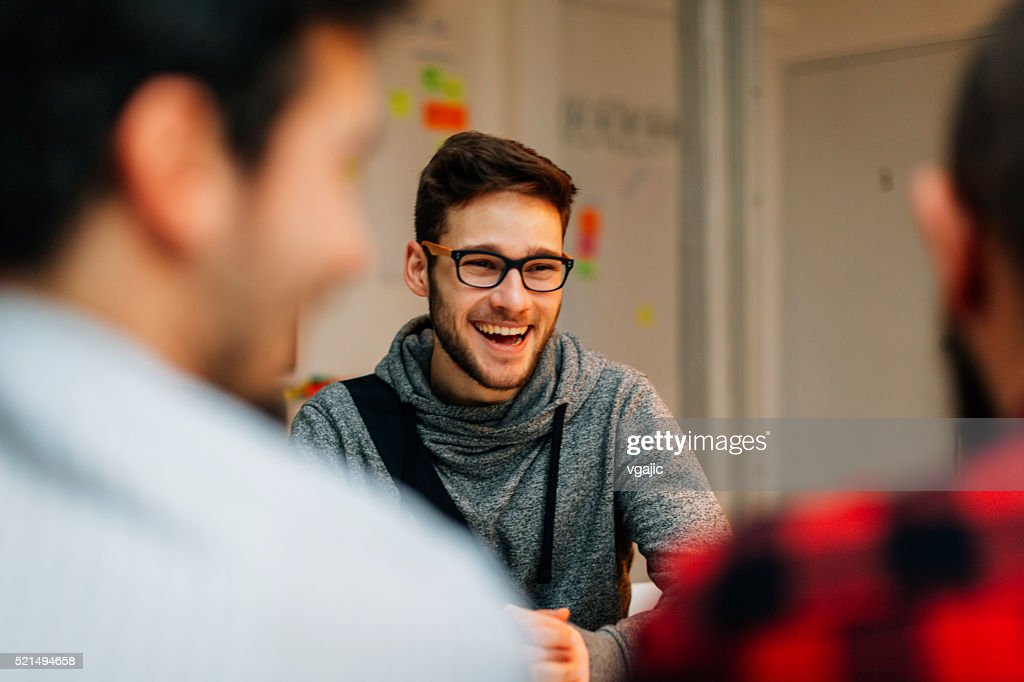 Young man at a job interview. : Stock Photo