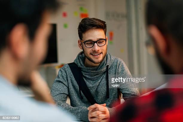 Young man at a job interview.